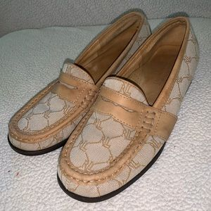 Ralph Lauren Tan Monogram Leather Penny Loafers